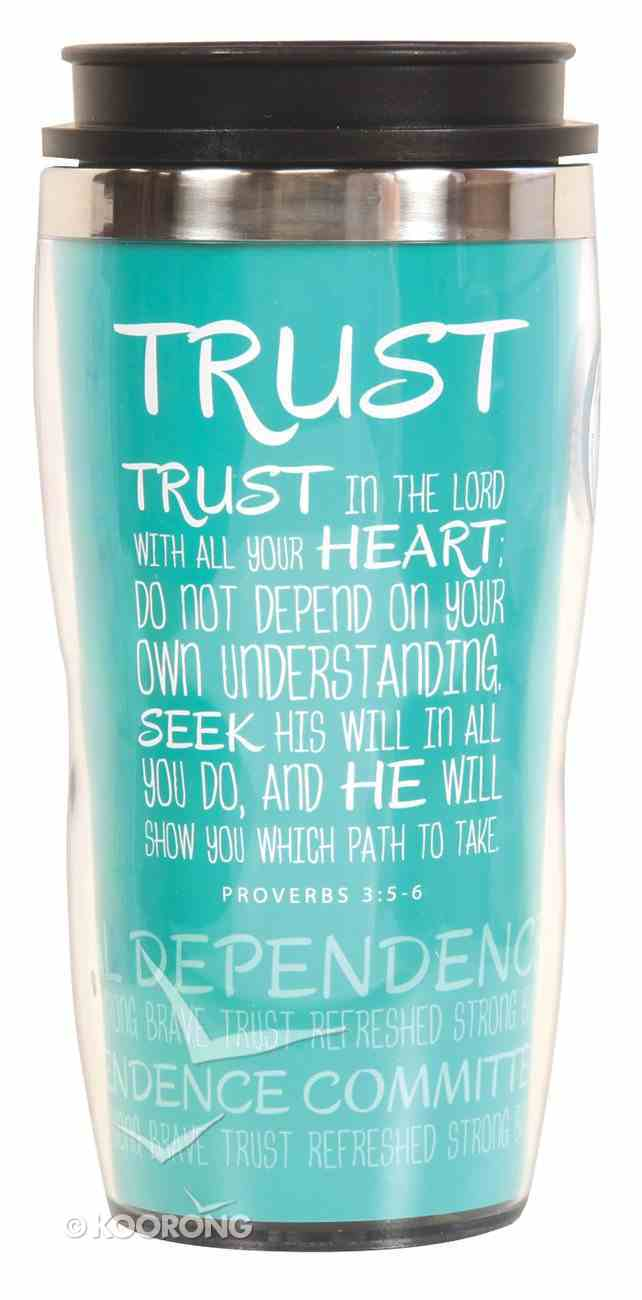 Wavy Stainless Steel Tumbler: Trust, Blue (Proverbs 3:5-6) Homeware