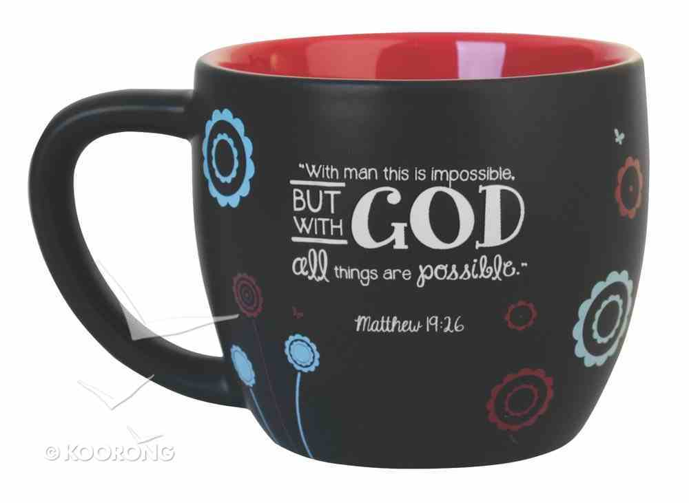 Joy Blossoms Ceramic Mug: Faith Black/Red/Blue/White (Matthew 19:26) Homeware