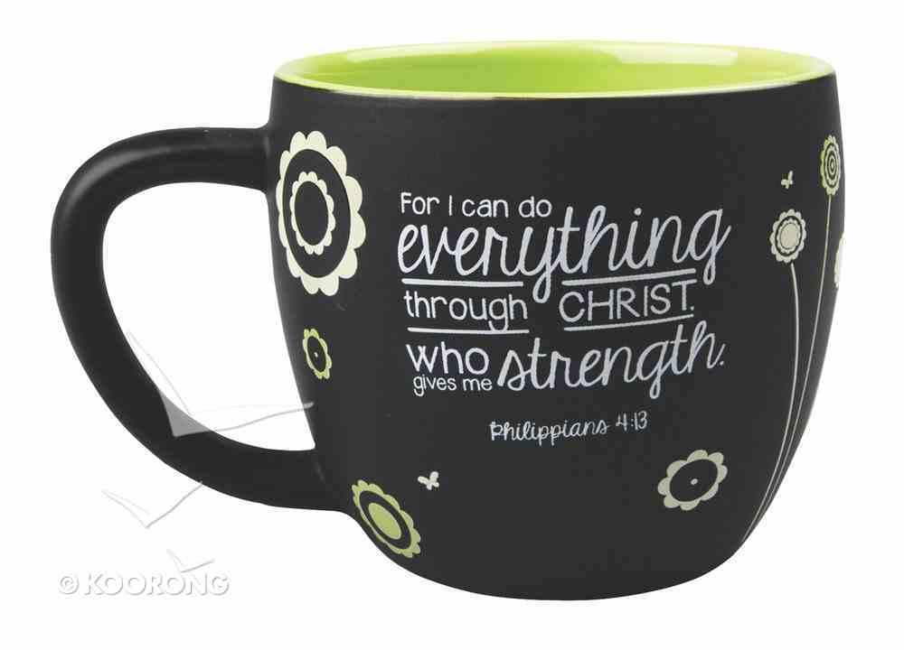 Joy Blossoms Ceramic Mug: Strength Black/Green/White (Philippians 4:13) Homeware