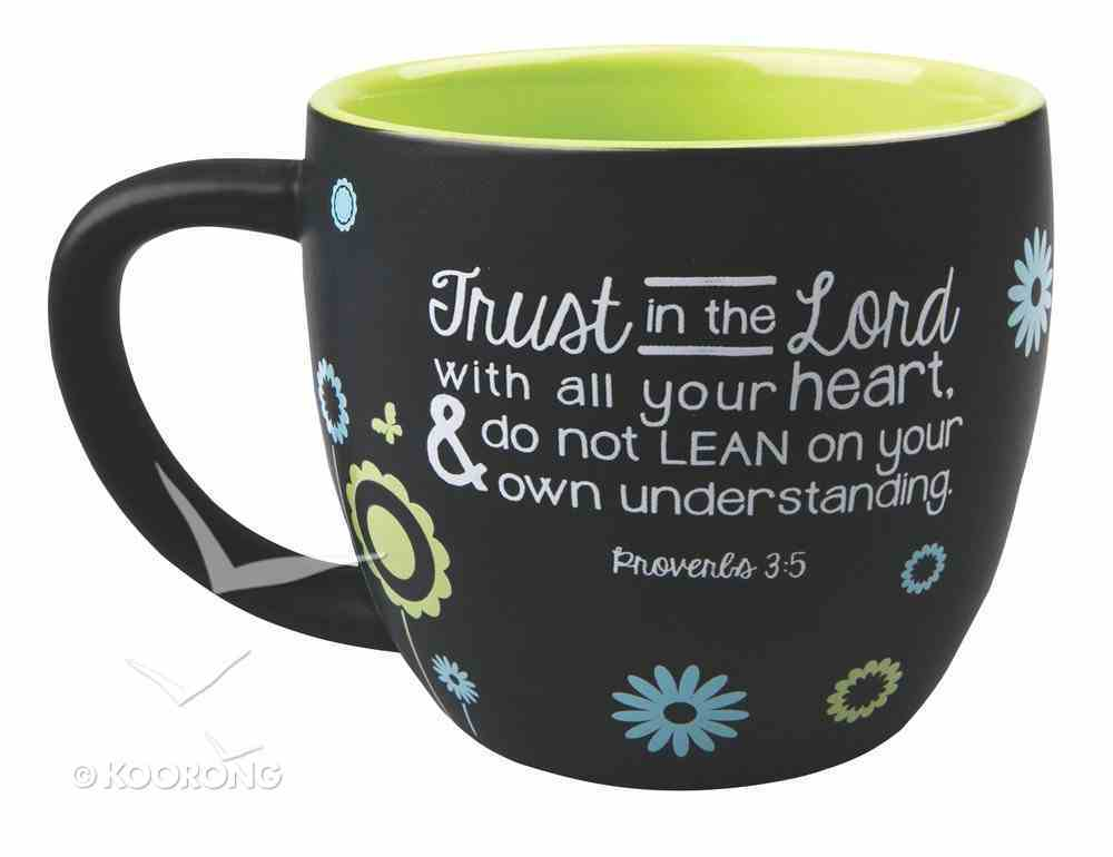 Joy Blossoms Ceramic Mug: Trust Black/Blue/Green/White (Proverbs 3:5) Homeware