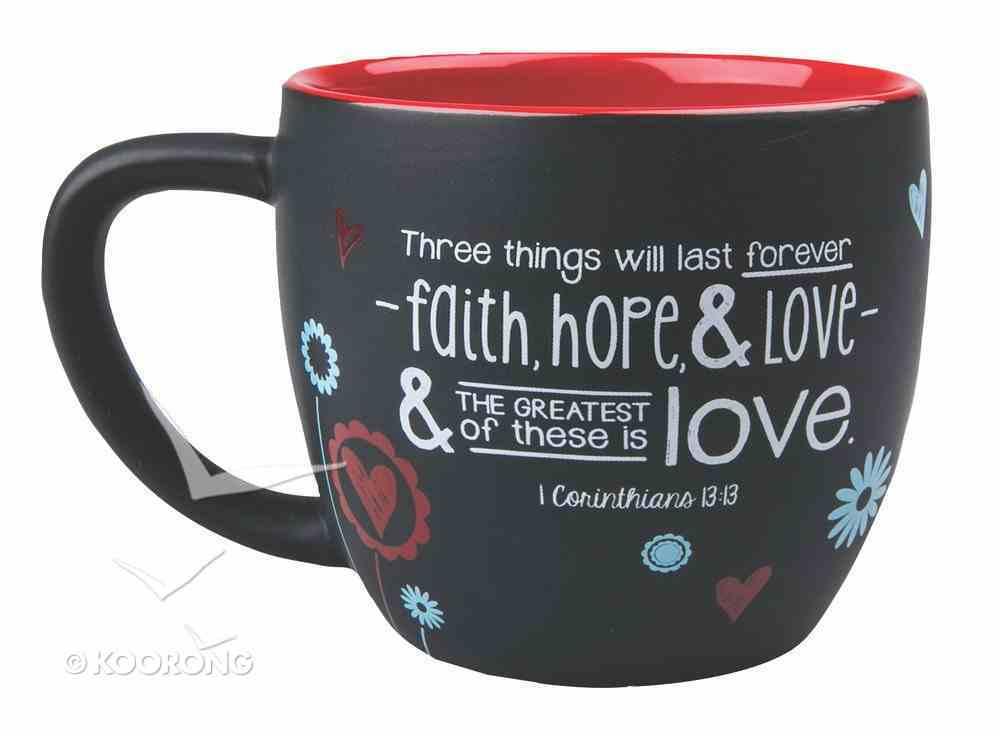 Joy Blossoms Ceramic Mug: Love Black/Red/Blue/White (1 Cor 13:13) Homeware