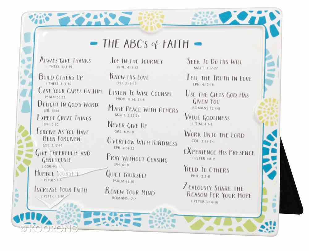 Word Study Plaque: Abc's of Faith, Blue/White/Yellow Plaque