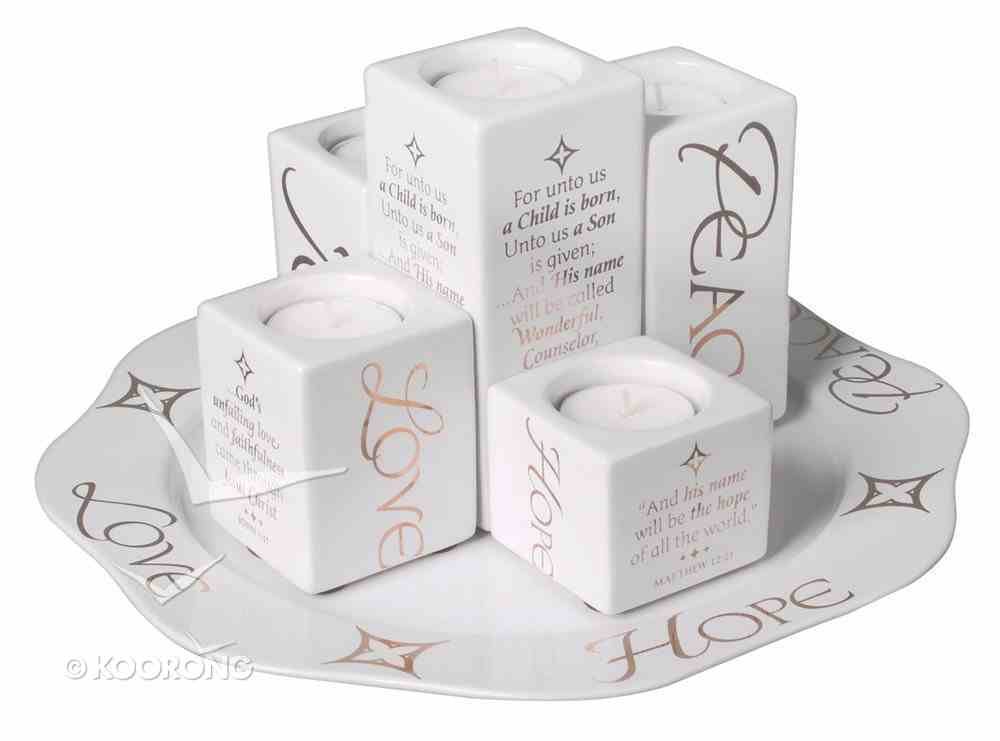 Ceramic Christmas Tray With Tealight Candle Pillars, Tealights Not Included Homeware