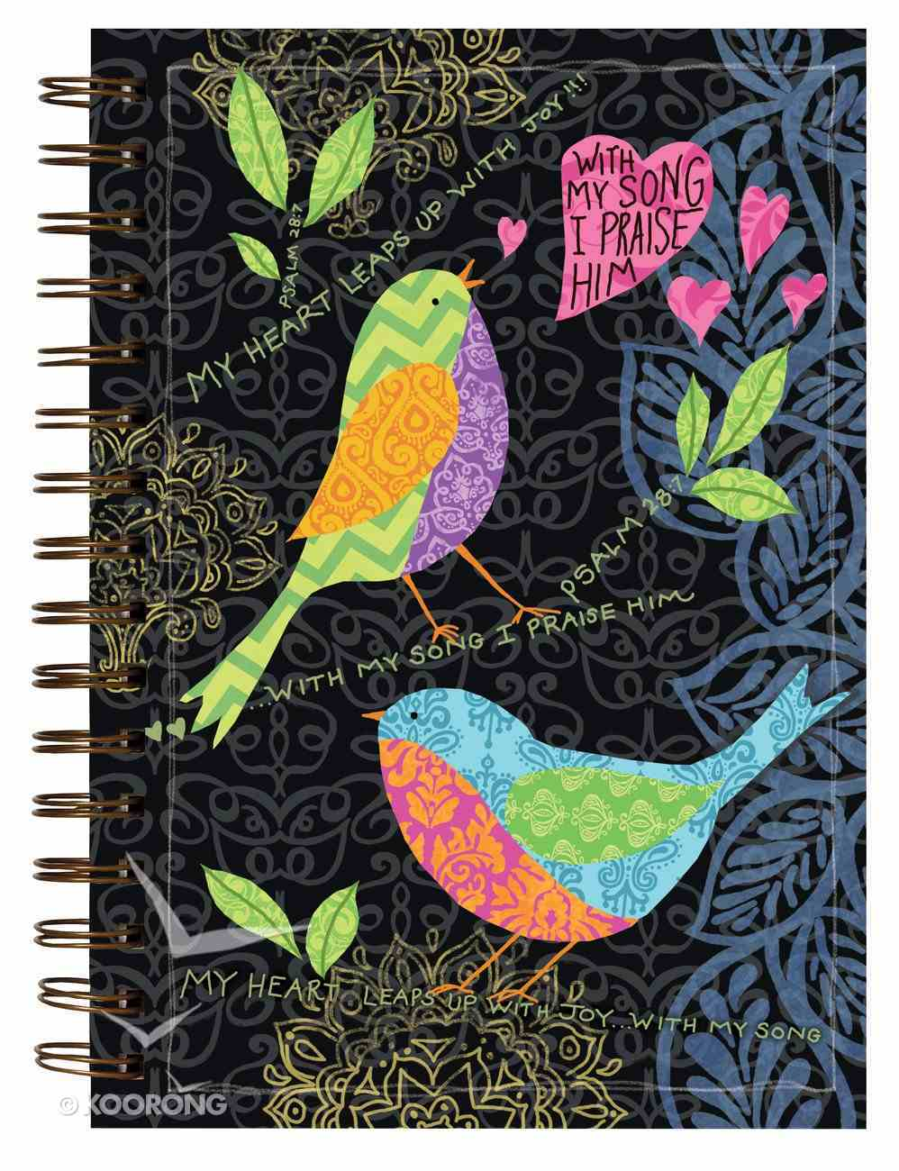 Garden Blessings Spiral Journal: Give Thanks, Psalm 28:7, My Heart Leaps Up With Joy!!! Spiral