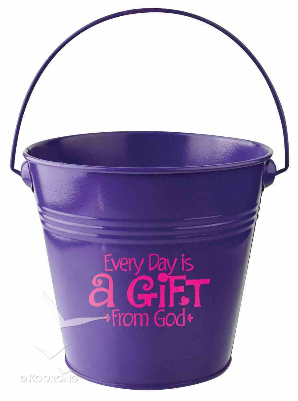 Gift Bucket: Every Day is a Gift From God (Dark Purple) Homeware