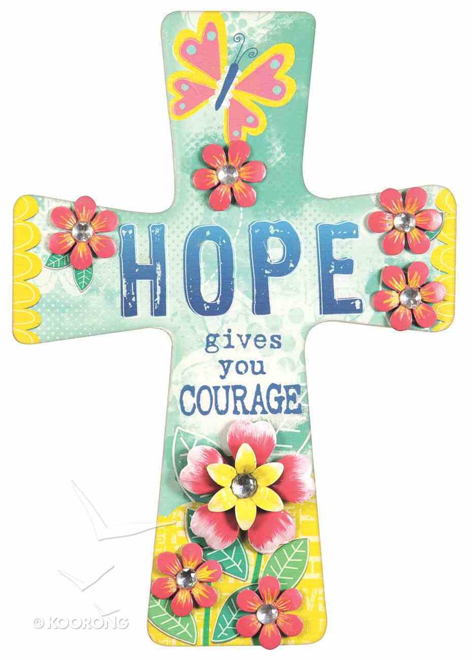Mdf Wall Cross With Metal Flower & Gem Accents: Hope Plaque