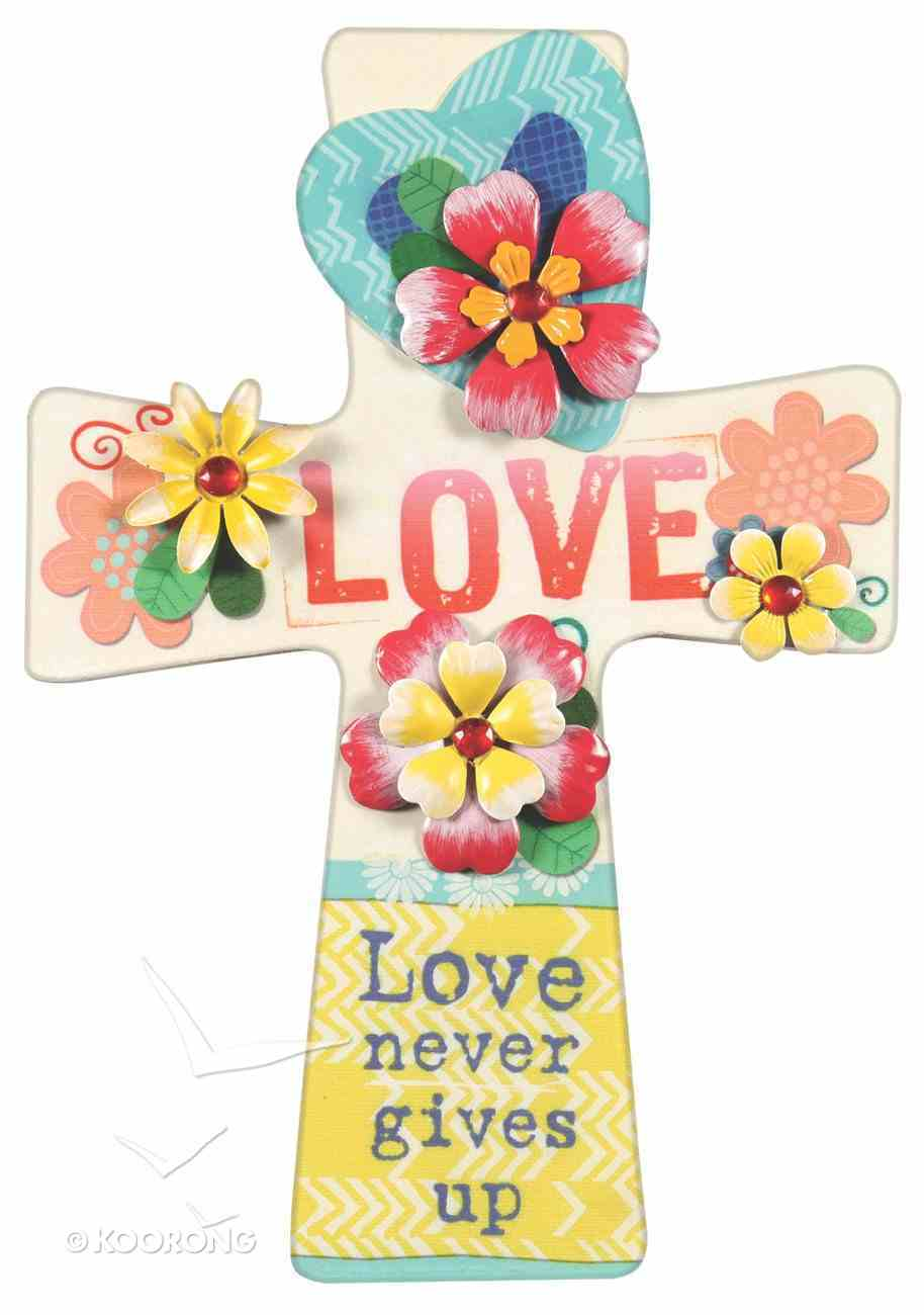 Mdf Wall Cross With Metal Flower & Gem Accents: Love Plaque