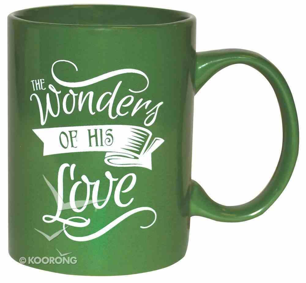Ceramic Glazed Christmas Mug: Wonders of His Love (Green/white) Homeware