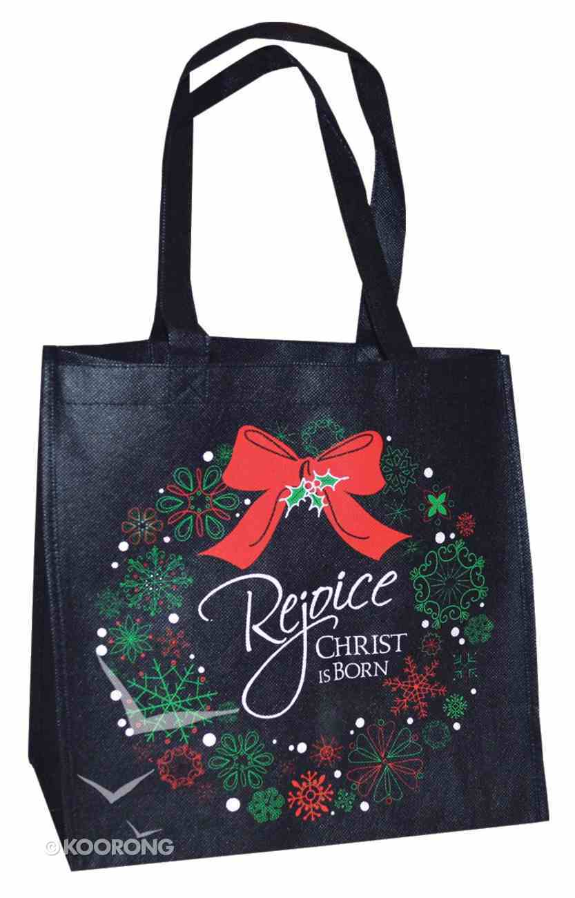 Christmas Eco Tote Bag Glitter: Rejoice Christ is Born Soft Goods