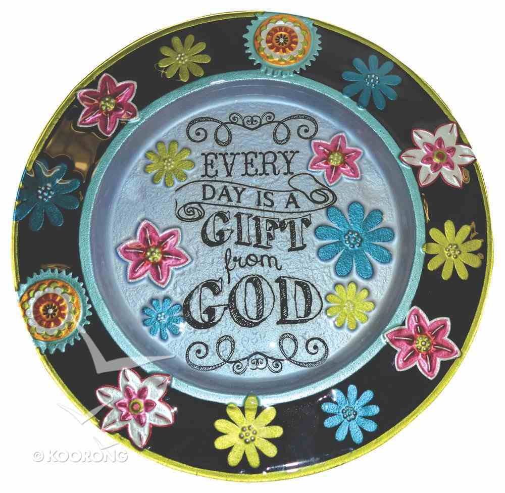 Fused Glass Platter - Every Day is a Gift From God (Chalk Bird Collection) Homeware