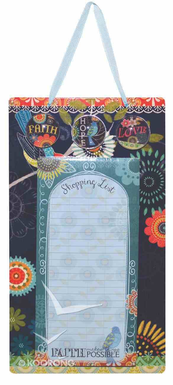 Metal Sign, List Pad & 3 Magnets (Chalk Bird Collection) Stationery