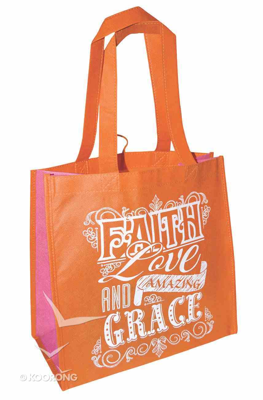 Eco Totes: Faith Love and Amazing Grace, Orange With Pink Sides Soft Goods