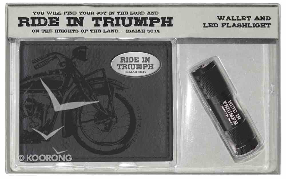 Wallet: Mens Brown Ride in Triumph & Led Flashlight Giftset Box