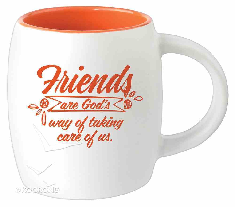 Ceramic Barrel Mug: Friends Are God's Way of Taking Care of Us (Orange) Homeware