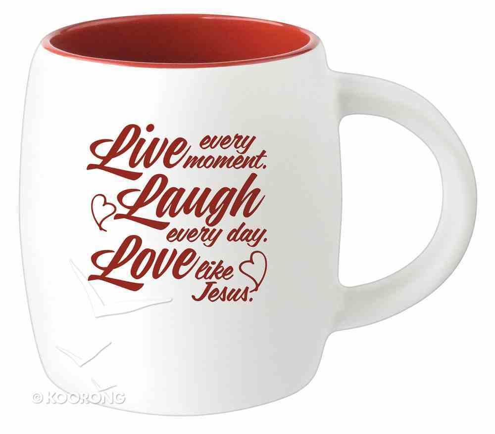 Ceramic Barrel Mug: Live Laugh Love (Red) Homeware
