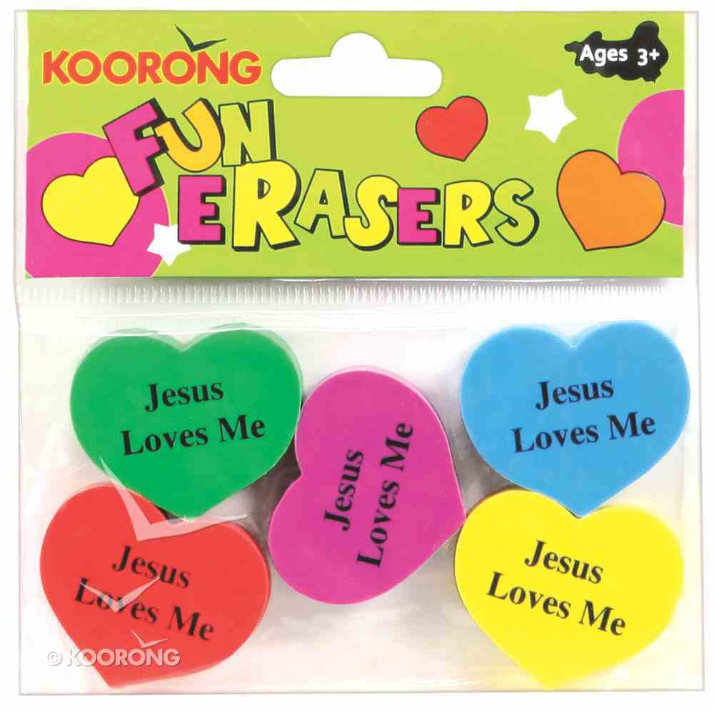 Eraser Pack: 5 Heart Shape Erasers, Jesus Loves Me Pack