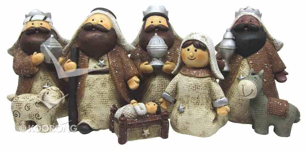 Resin Childrens Nativity Scene 8 Piece Set Homeware