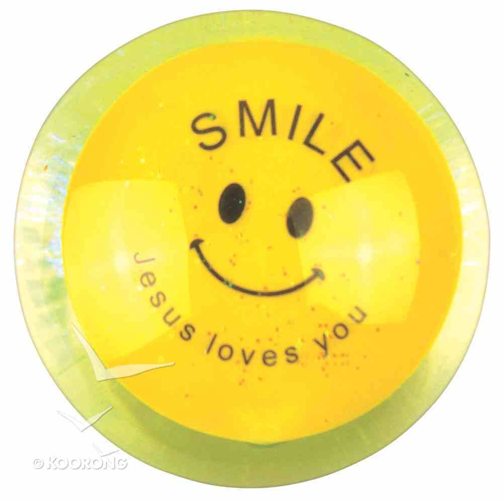 Water Ball Bouncy Ball With Yellow Glitter: Jesus Loves You, 6.5cm Novelty