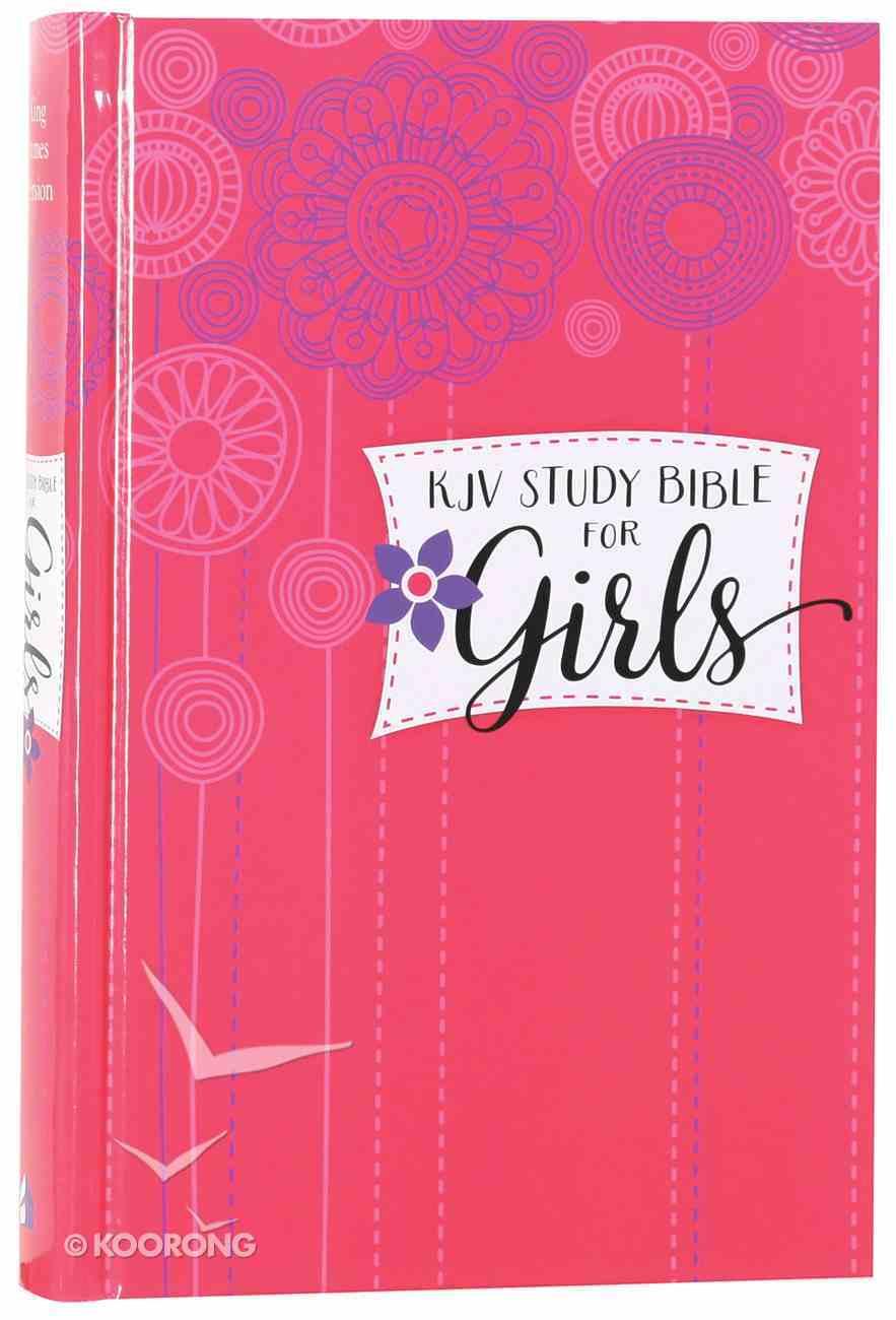 KJV Study Bible For Girls Hardcover Pink/Flowers (Red Letter Edition) Hardback