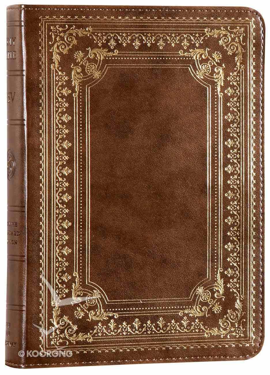 ESV Large Print Compact Bible Trutone Classic Frame Design Brown Imitation Leather