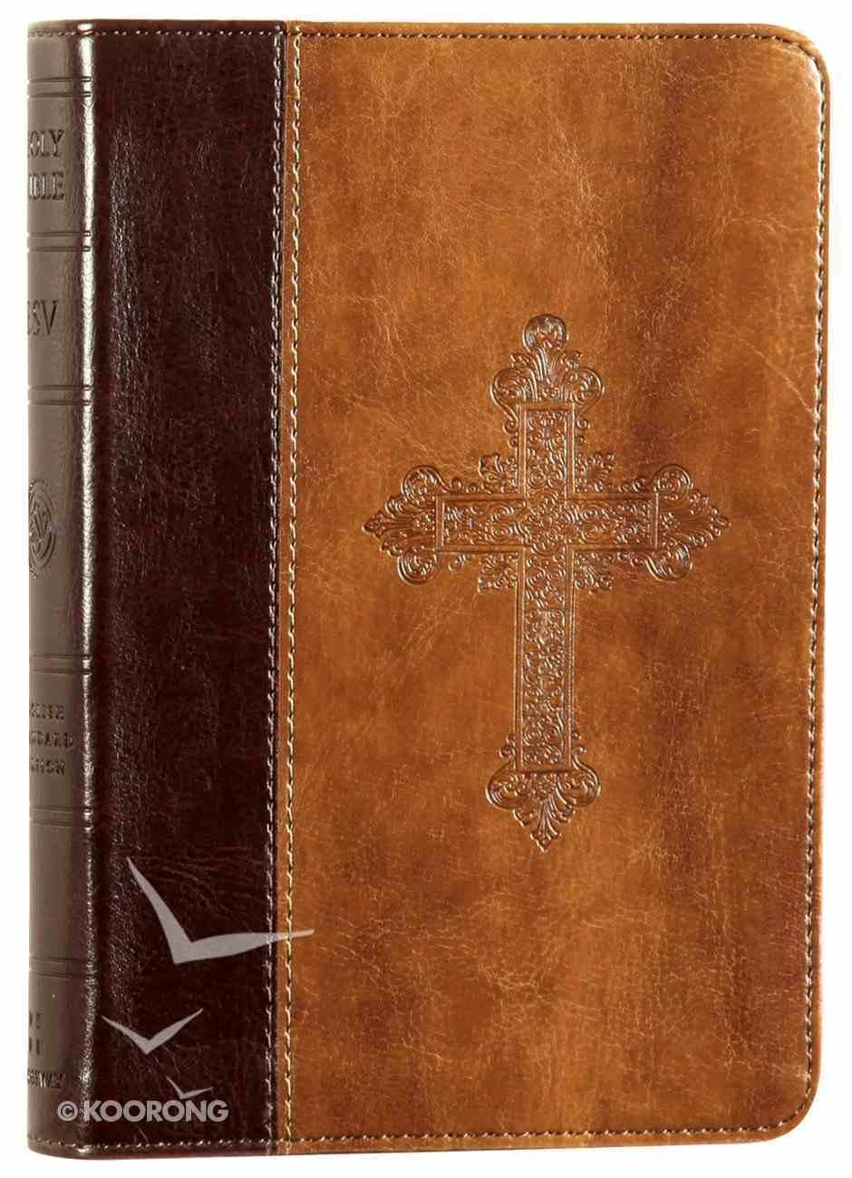 ESV Large Print Compact Bible Trutone Vintage Cross Design Burgundy/Tan Imitation Leather