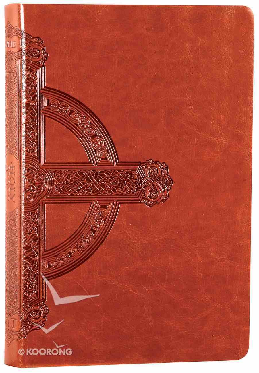 NLT Premium Value Large Print Slimline Bible Sienna Cross Leatherlike (Black Letter Edition) Imitation Leather