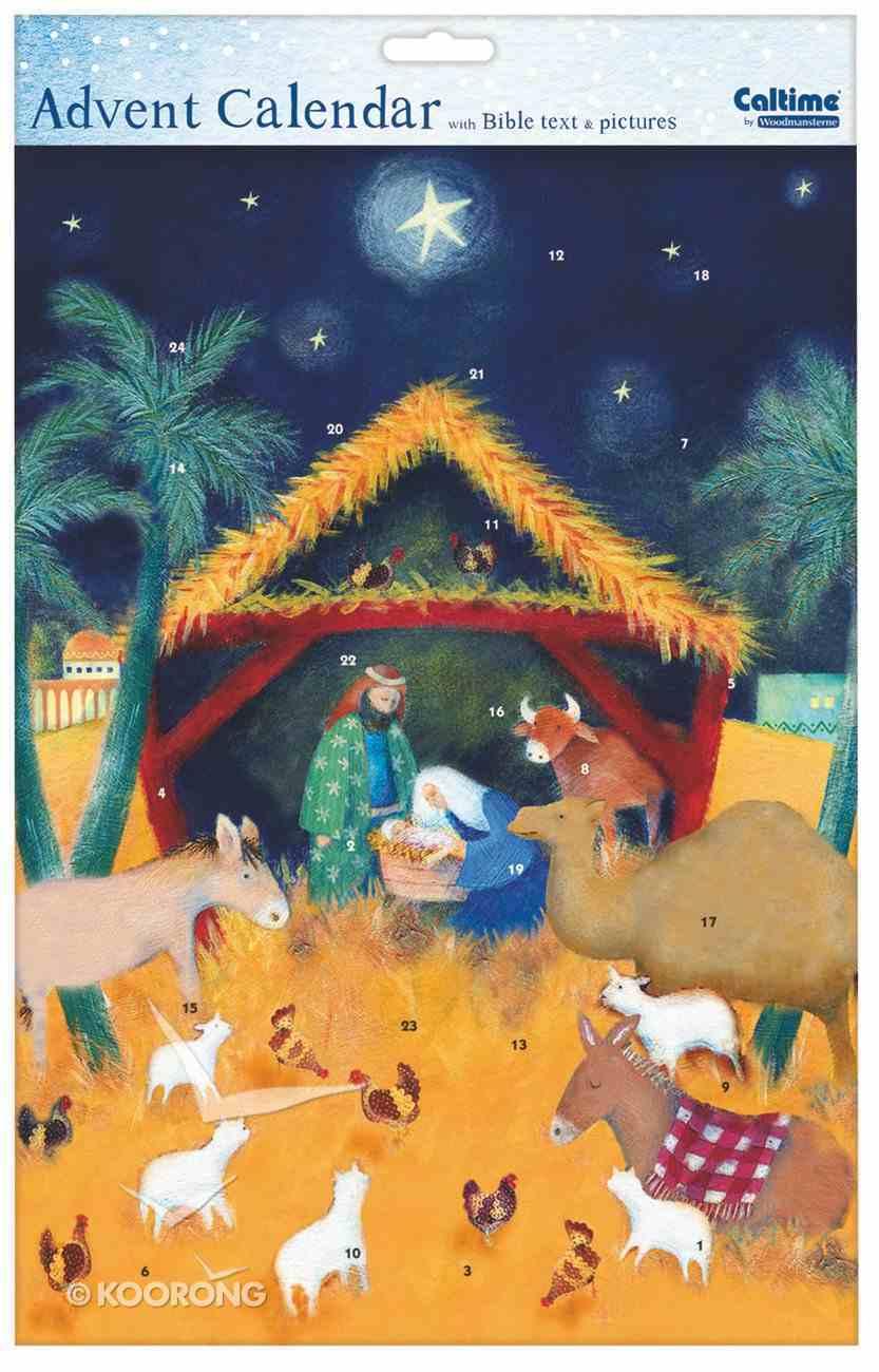 Advent Calendar: Manger and Animals With Bible Text Calendar