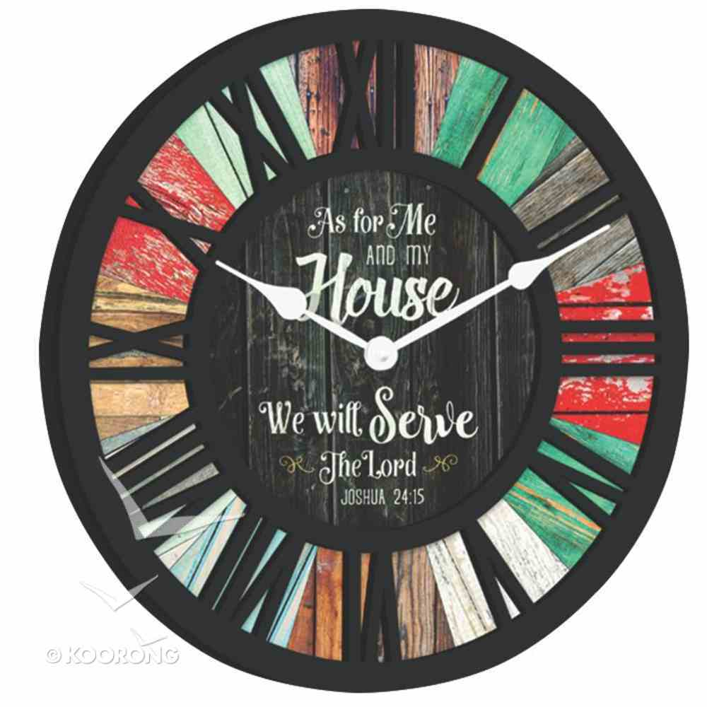 Round Clock: Black, as For Me and My House, Joshua 24:15 Homeware