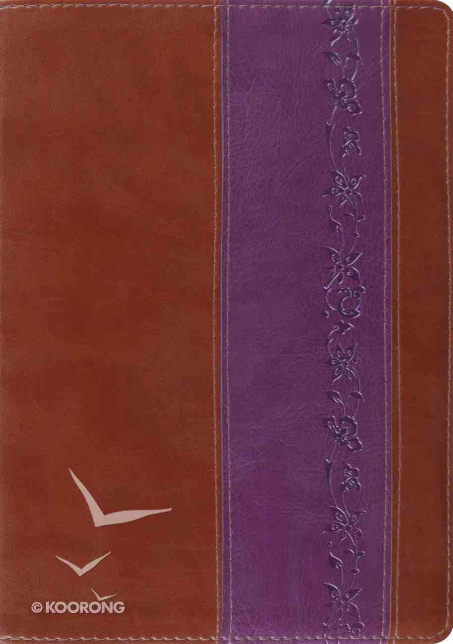 ESV Study Brown/Purple Iris Design (Black Letter Edition) Imitation Leather