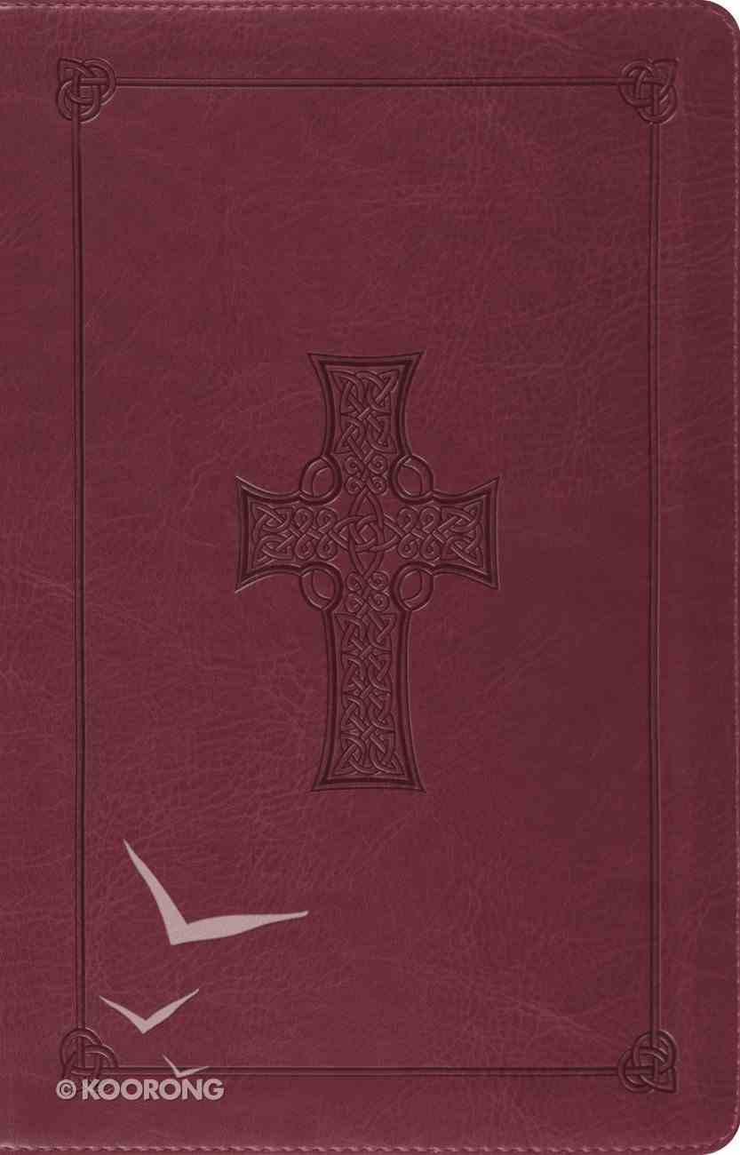 ESV Large Print Thinline Reference Bible Trutone Burgundy Celtic Cross Design (Black Letter Edition) Imitation Leather