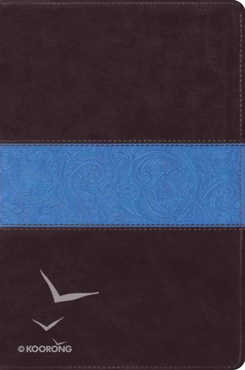 ESV Single Column Legacy Bible Chocolate Blue Paisley Design Imitation Leather