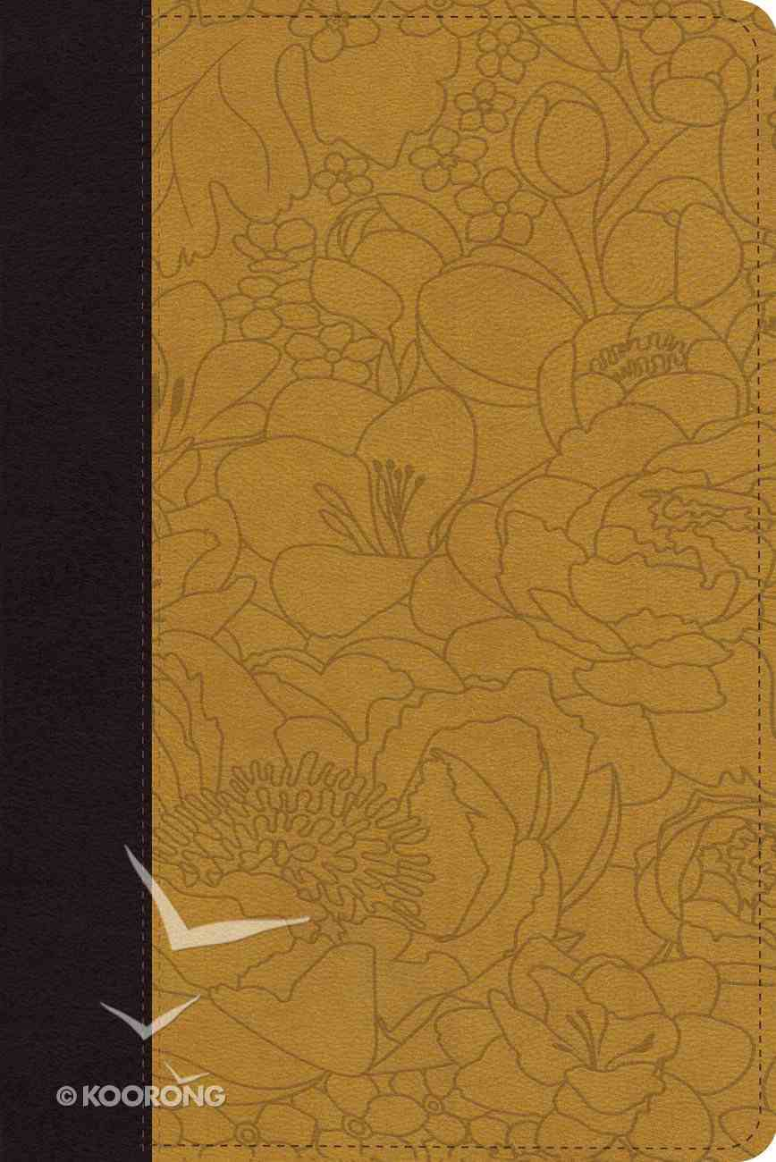 ESV Personal Reference Trutone Coffee/Goldenrod Bouquet Design Imitation Leather