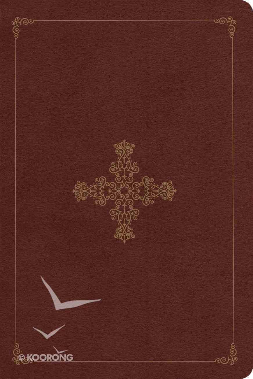 ESV Single Column Heritage Bible Trutone Deep Brown Ornate Cross Design Imitation Leather
