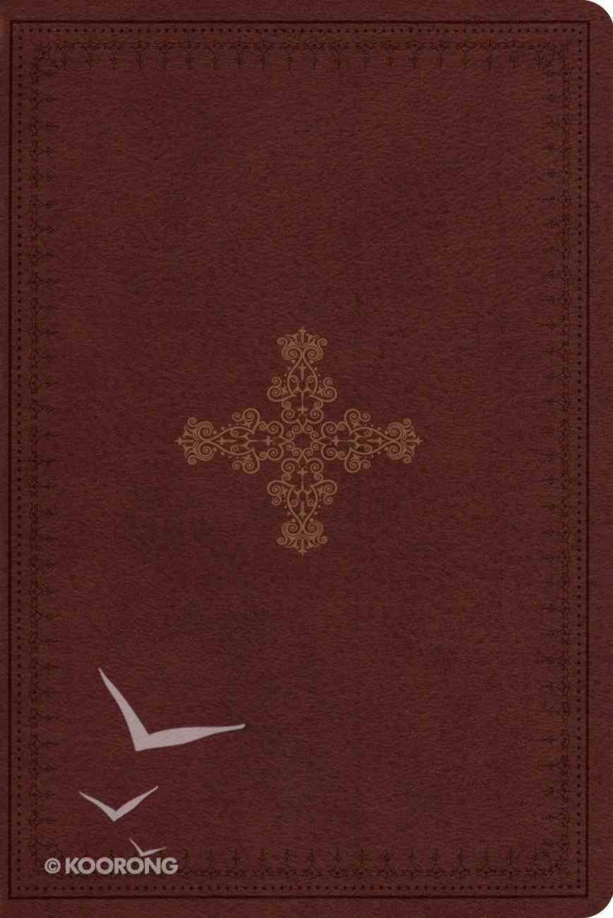 ESV Study Bible Personal Size Trutone Deep Brown/Ornate Cross Design Imitation Leather