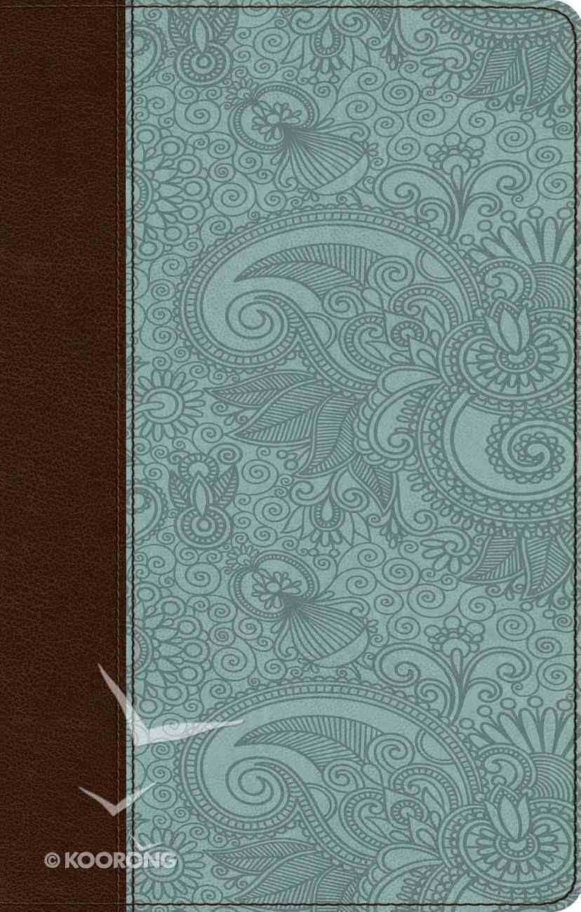 ESV Ultrathin Bible Trutone Chocolate/Blue Garden Design (Black Letter Edition) Imitation Leather