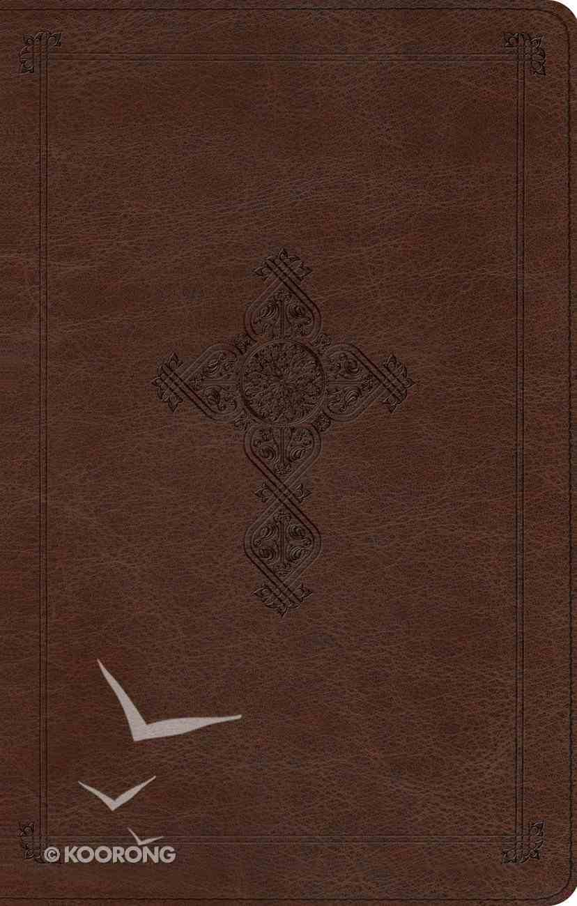 ESV Ultrathin Bible Trutone Brown Antique Cross Design Imitation Leather