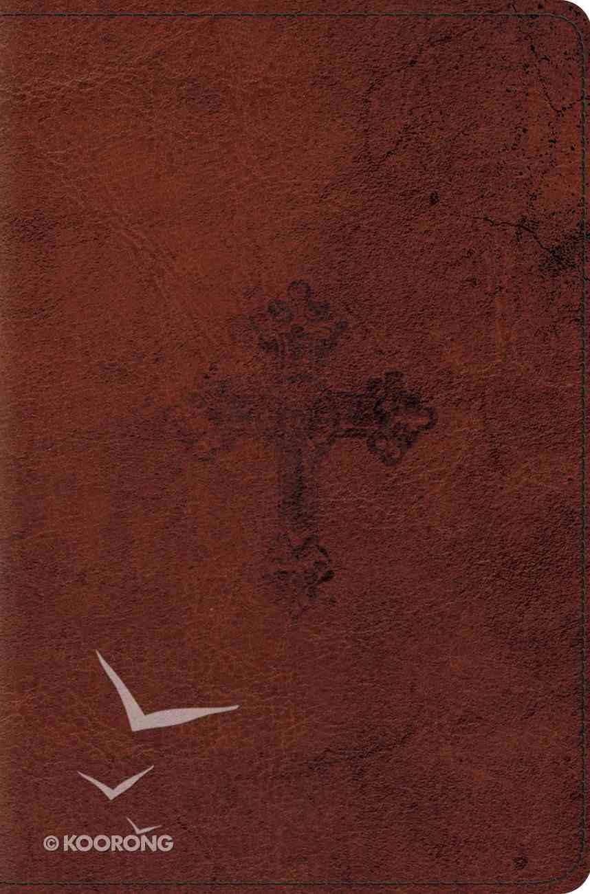 ESV Compact Trutone Walnut Weathered Cross Design (Black Letter Edition) Imitation Leather