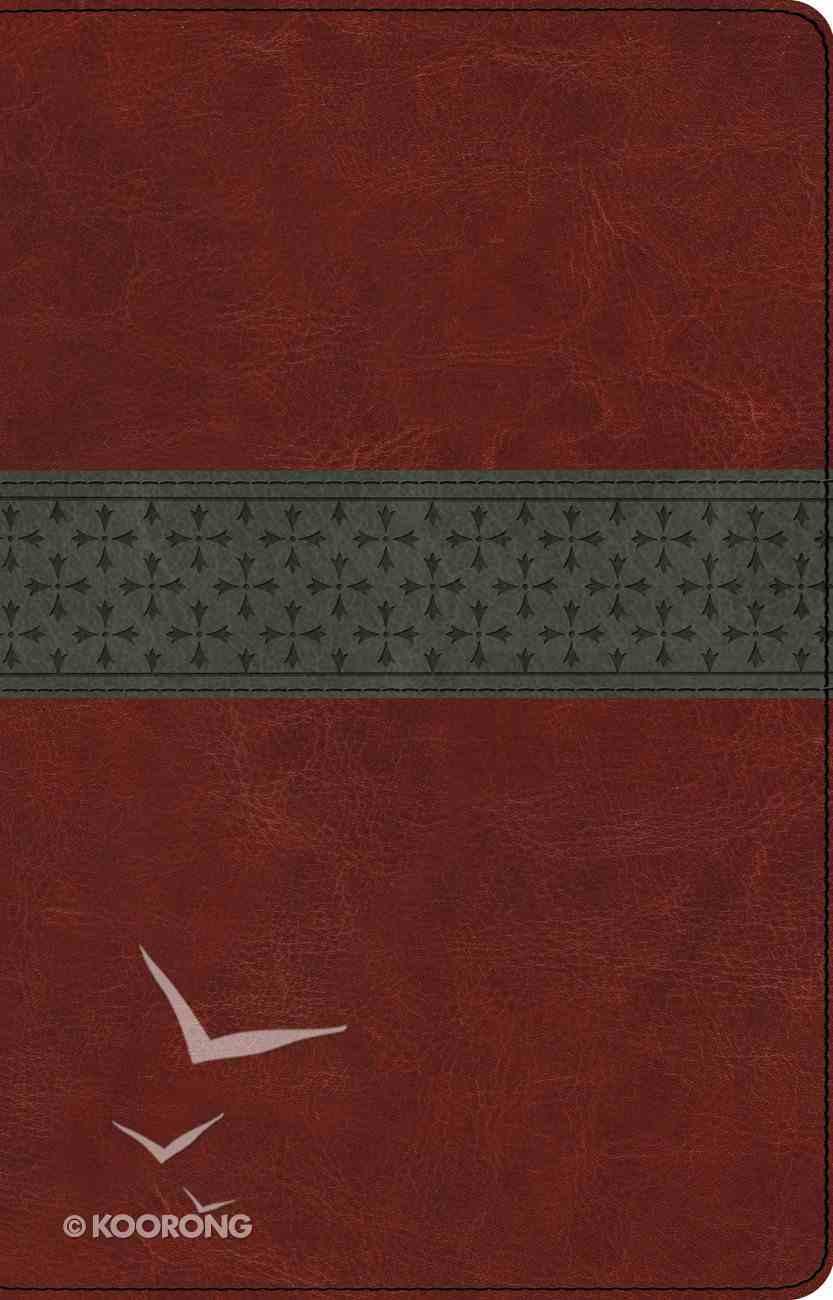 ESV Large Print Thinline Reference Bible Walnut/Slate Crossband Design (Black Letter Edition) Imitation Leather