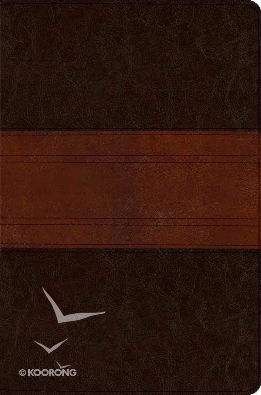 ESV Macarthur Study Personal Size Trutone Chocolate/Walnut Trail Design Imitation Leather