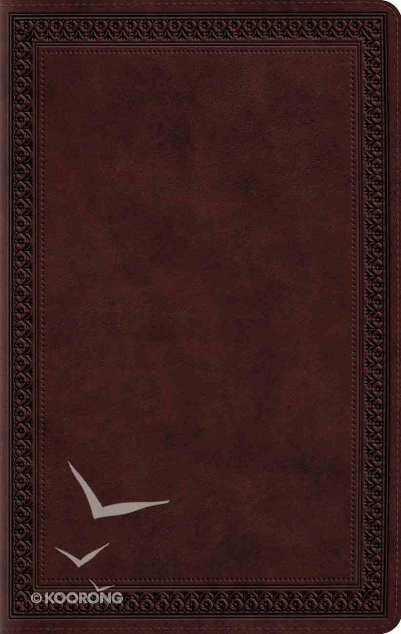 ESV Large Print Compact Bible Mahogany Border Imitation Leather