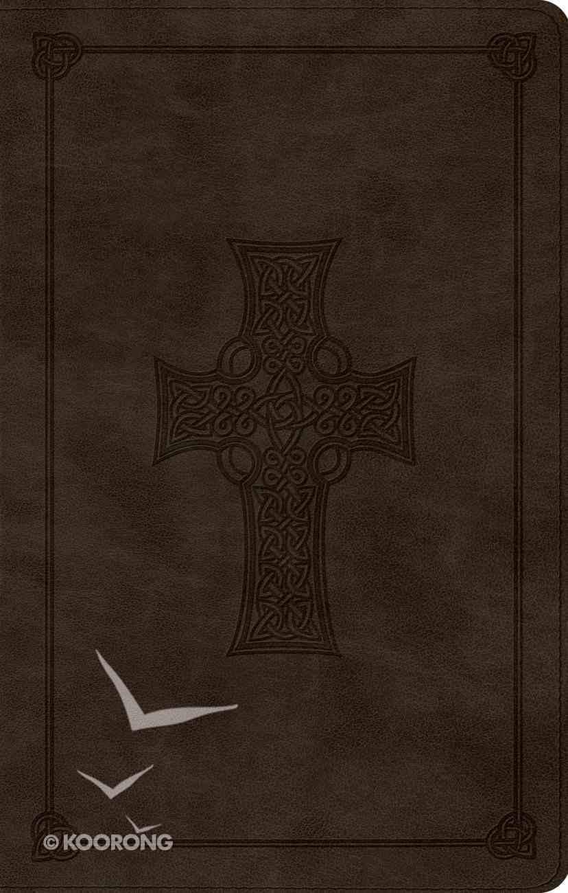ESV Ultrathin Bible Black Lettered Trutone Olive Celtic Cross Design Imitation Leather