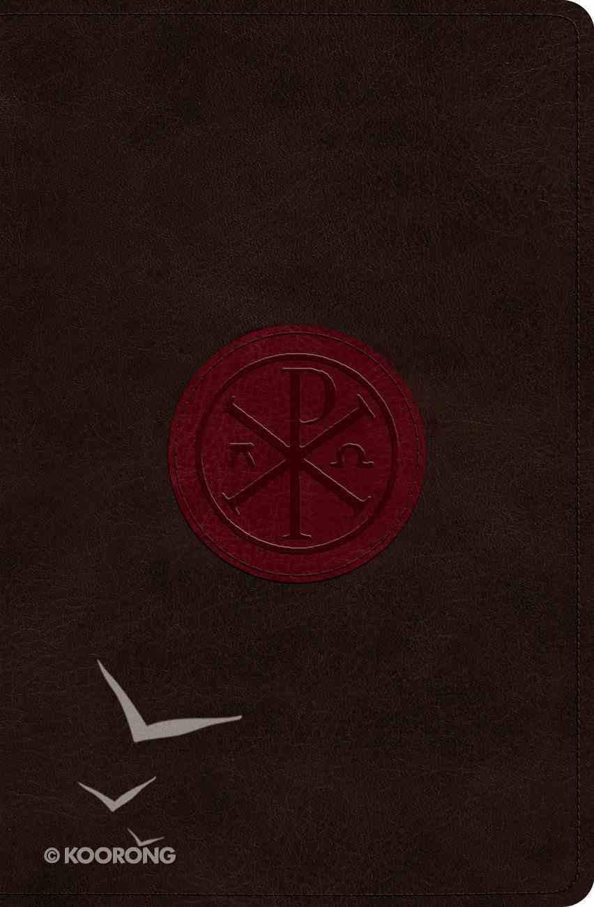 ESV Verse-By-Verse Reference Bible Trutone Walnut/Burgundy Chi-Rho Emblem Design Imitation Leather