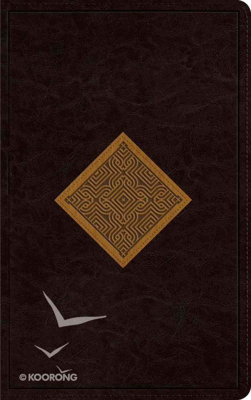 ESV Thinline Bible Trutone Chocolate/Goldenrod Diamond Weave Design Red Letter Edition Imitation Leather