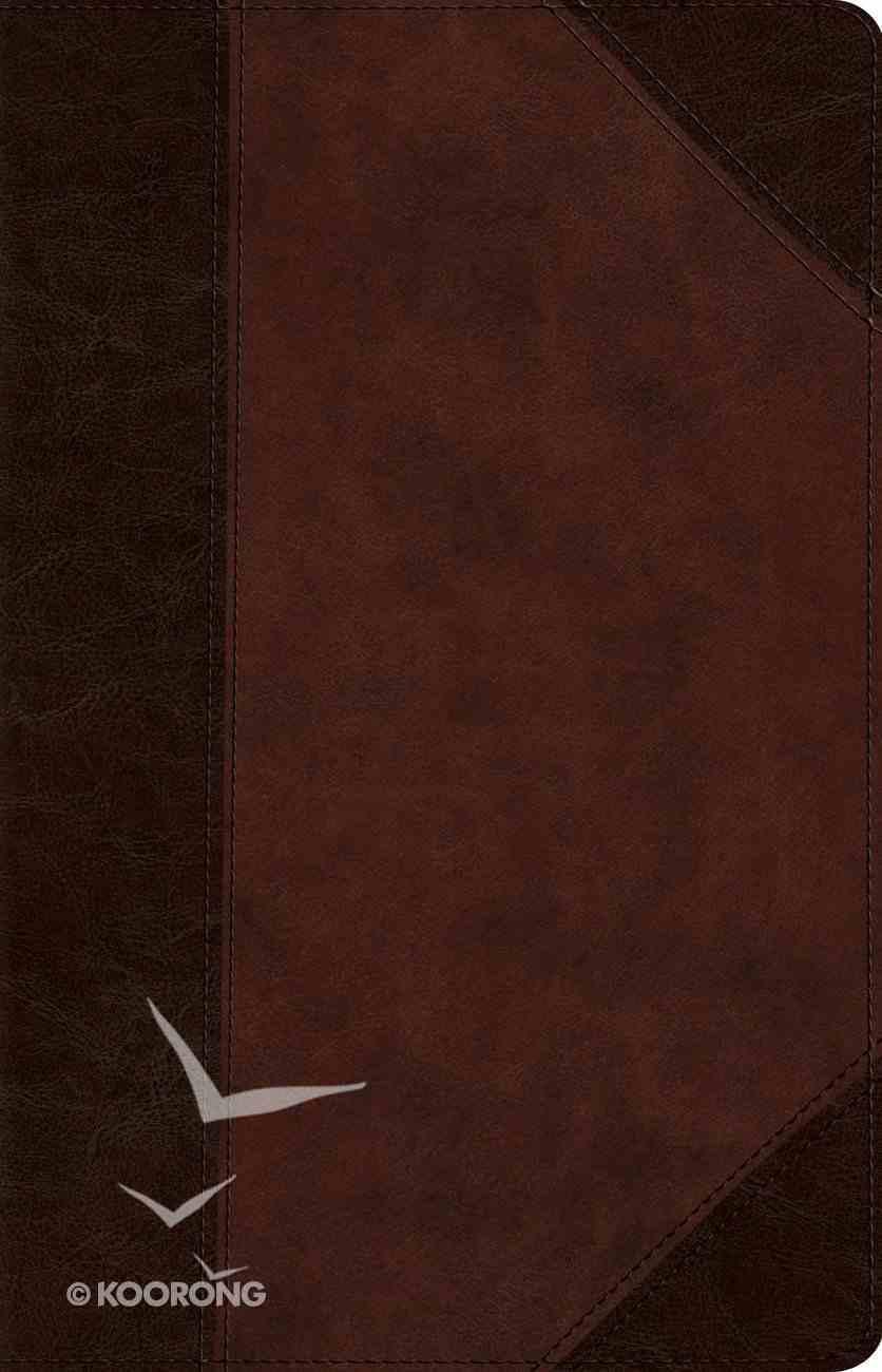 ESV Wide Margin Reference Bible Trutone Brown/Walnut Portfolio Design Red Letter Edition Bonded Leather