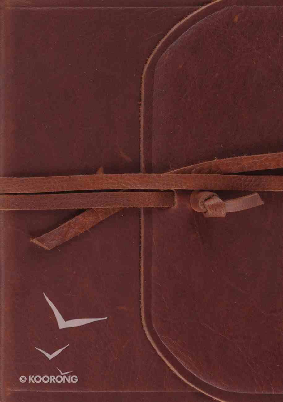 ESV Journaling Bible Large Print Brown Flap With Strap (Black Letter Edition) Genuine Leather