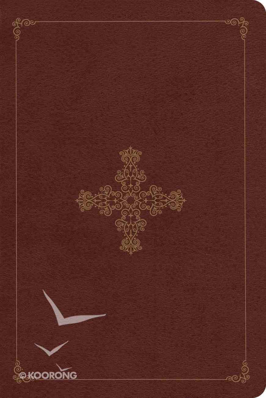 ESV Single Column Personal Size Trutone Deep Brown Ornate Cross Design Red Letter Edition Imitation Leather