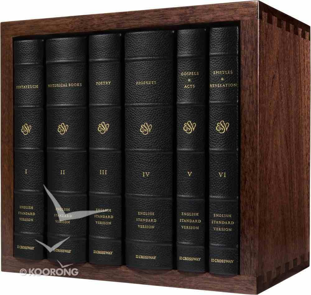 ESV Reader's Bible With Walnut Slipcase (6 Volume Set) (Black Lettere Edition) Genuine Leather Over Hardback