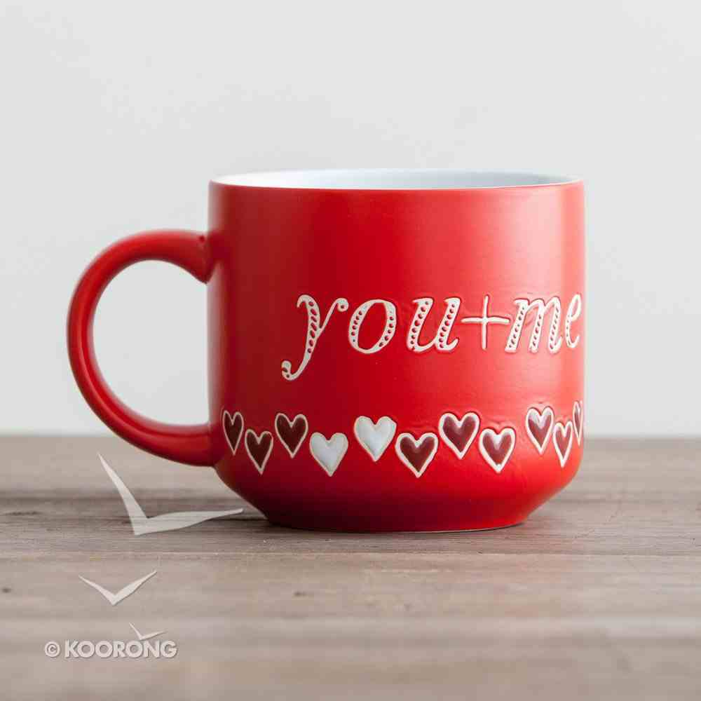 Jumbo Ceramic Mug: You + Me (1 John 4:19 NIV) (Red/hearts) Homeware