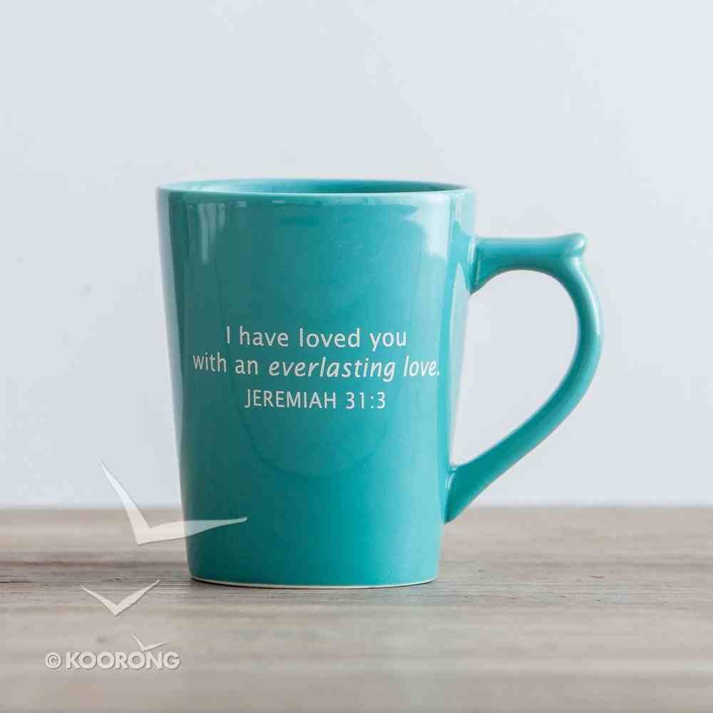 Classic Ceramic Mug: Cross Icon (Jeremiah 31:3) (Turquoise) Homeware