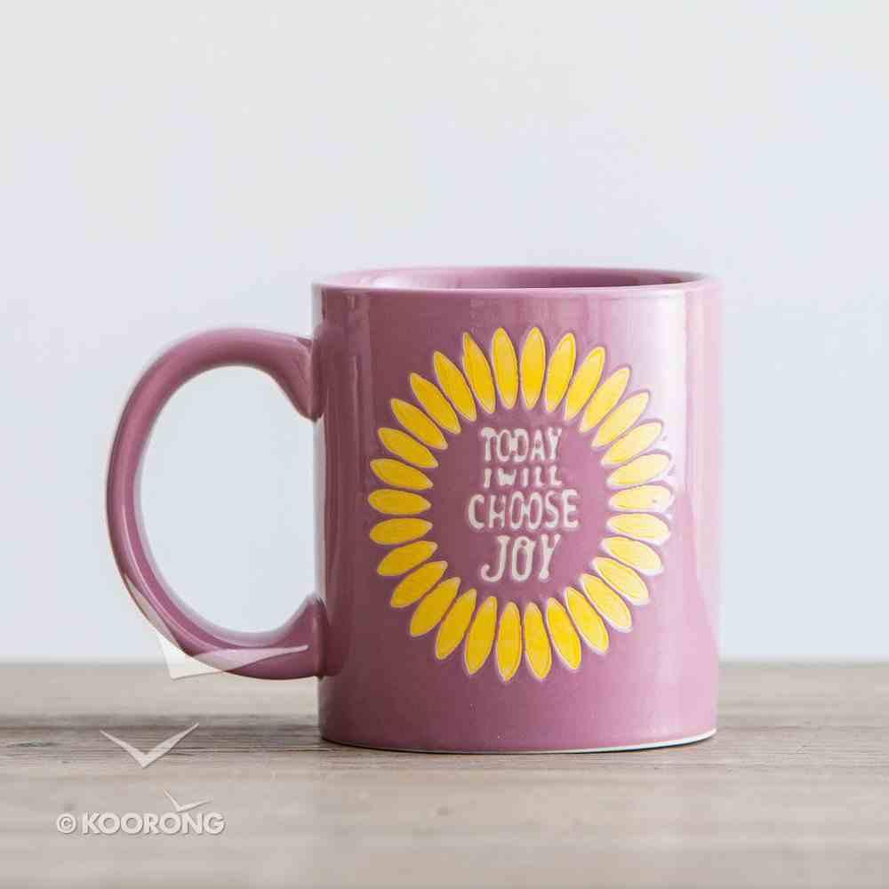 Ceramic Mug: Today I Will Choose Joy (Romans 15:13) (Purple/yellow/white) Homeware